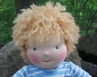 """Handmade Waldorf Doll, Boy Doll, Blond, Cloth Doll, Rag Doll, 16"""" Doll, Cotton and Wool Doll, Doll for Boys  and Girls."""