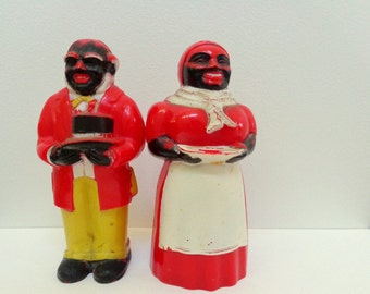 Black Americana, Aunt Jemima, Uncle Mose, Salt and Pepper Collection, Vintage Kitchen
