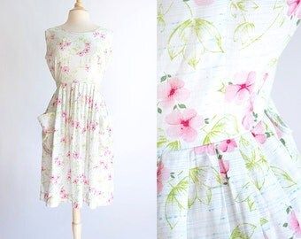 Vintage 50s Dress | 1950s Cotton Dress | Mode O' Day Pink Floral Cotton Dress