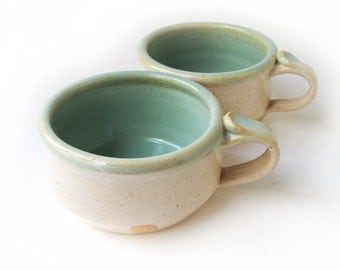Pair White and Green Soup Mugs