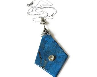 Victorian Sterling Sardonyx Necklace - Sterling Silver, Filigree, Blue Sardonyx, Paste Rhinestone, Pendant, Antique Jewelry