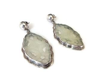 Vintage Mexican Sterling Jade Earrings - Mexico 925, Nephrite Jade, Carved Jade, Dangle Earrings, Vintage Earrings, Vintage Jewelry