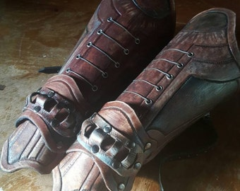 Brown leather fantasy gauntlets