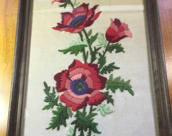 Vintage Floral Stitchery Framed in Glass