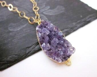 Purple Stone Pendant Necklace -- Purple Gem Necklace -- Druzy Quartz Necklace -- Purple Druzy Necklace -- Amethyst Druzy Pendant Necklace