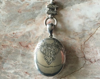 Antique Engraved Victorian Sterling Silver Locket