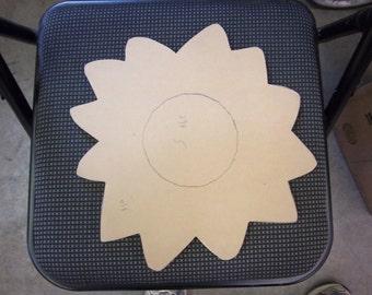 "ON SALE 12"" Wood SunflowerMDF Wood Form//Mosaic Base//Craft Base//Paint Form"