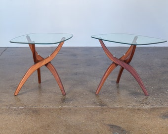 Forest Wilson Sculptural Glass and Wood Side Table End Tripod 1960s