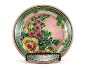 Pink Dinnerware - Handmade Floral Ceramic Plate - Pottery Dish for Dessert or Bread - Rose Design
