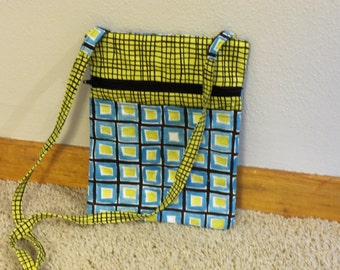 Handmade Cross Body Lime Green and Blue Shoulder Purse