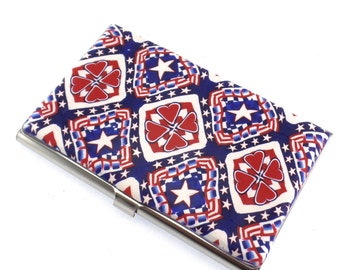 Patriotic Colorful Polymer Clay Business Card  Case