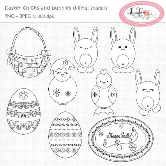 Easter digital stamps, Easter line art, Easter egg digital stamp, Easter basket digital stamp, Coloring images, DS62