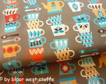 Hamburger Liebe Cotton Fabric Five O Clock, Tea Time, Poplin by Hilco