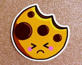 Sad Chocolate Chip Cookie Vinyl Sticker - 10cm fun food paper stationery stickers cute kawaii