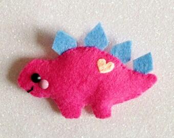 Stegosaurus Dinosaur Felt Brooch Hair Clip accessory happy dino kitsch kawaii