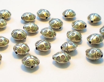 Lady Bug Beads Karen Hill Tribe 11mm Lady Bird Fine Silver Puffed Disc Bead 2 pcs HT-258