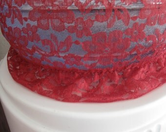 Cotton and Lace Red Bottle Cover -Home Bottle Decor Water Bottle-5 Gallon Bottle Water Cover
