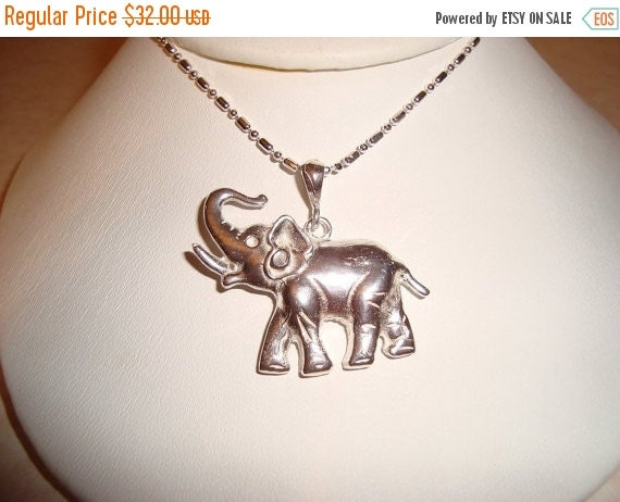 FALL SALE: Silver Elephant, Hand Cast 925 Sterling, Handmade, Lucky Elephant, Asian Elephant, Jungle necklace, US Made,   Male Gift Necklace
