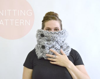Instant Download Knitting Pattern – Knit Cowl Pattern Knit Scarf Pattern Women's Cowl Knit Pattern  Cable Scarf Pattern Womens Accessories