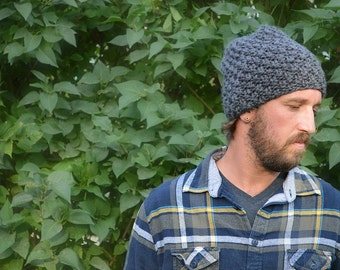 Chunky Knit Slouchy Hat, Unisex Slouch Beanie, Textured Wool Beanie, Knitted Slouch Toque, Men's Winter Hat, His and Hers Knit Hat