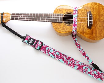Ukulele Strap, The HUG Strap, No need for Strap Buttons, Tiny Pink and Blue Flowers, Hands Free Uke Strap
