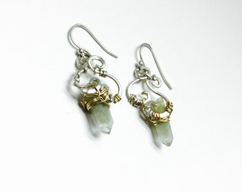 Green Goddess phantom, crystal point, wire wrapped, earrings, hammered sterling silver