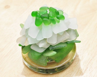 Genuine Sea Glass Paperweight Flower of Happiness in Greens, Seafoam & White 5783 Free Shipping Desk Decor Accessories Genuine Sea Glass