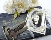 Keepsakes From The Past Vintage Art Deco Daily Reminder Notebook Millinery Sprig Flat Keys Crystal Necklace Vanity Display Project Destash