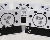Black and White with Polka Dots Mini Thank You Cards Handmade Set of 24