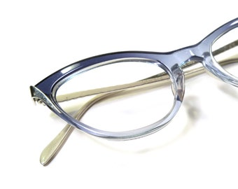 Vintage 50s Cateye Glasses, 12k White Gold Filled Frames, Translucent Powder Blue Cat Eye Eyeglasses 4-1/4 5-1/2