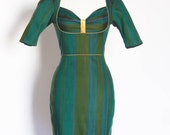 Green Wool Mix Stripe Bustier Pencil Dress - Made by Dig For Victory