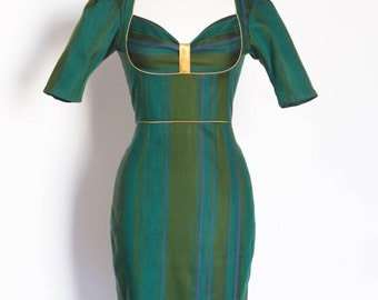 UK Size 10 Green Wool Mix Stripe Bustier Pencil Dress - Made by Dig For Victory