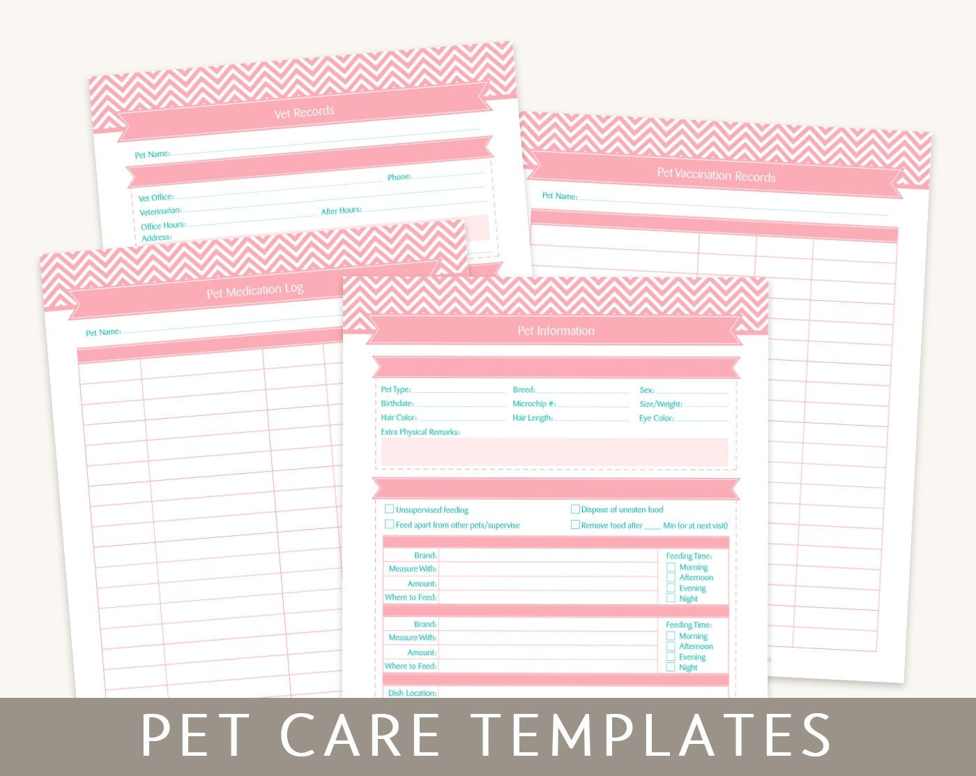 Pet care templates editable pdf files for a4 and letter for Pet health record template