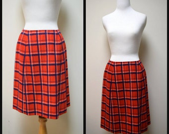 Vintage YOUNG PENDLETON Red White Blue Wool Plaid Aline Skirt Size 13/14