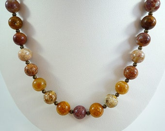 Agate Necklace Gemstone Necklace Agate Gemstone Necklace Fall Colors Necklace Gold Brown Rose Agate Beads Multi Colored Agate Strand