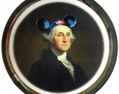 Mouseketeer Washington Portrait Plate - Altered Vintage Plate 6.5""