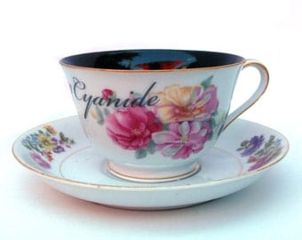 Cyanide Altered Vintage Teacup and Saucer