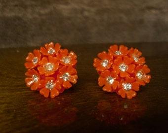 Vintage 1960's  Orange Rhinestone Flower Earrings