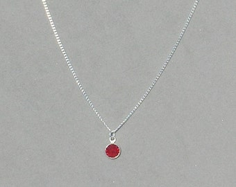Swarovski July Birthstone-Ruby Drop Necklace
