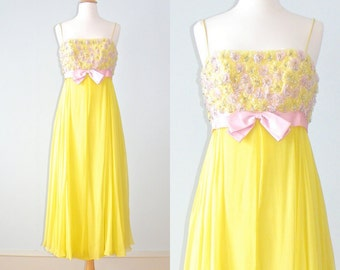 1960s Dress, 60s Party Dress, Yellow Chiffon Dress with Beaded Pink Flowers, Small