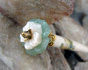 Gemstone Floral Hair Stick Green Aventurine and Shell Carved Flower Hairstick Hair Pins Chopsticks Haarstab Beaded Hair Pic Fork - Rhoswen