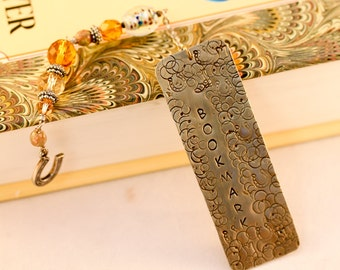 Hand stamped Metal Bookmark. Personalized Bookmark. Metal Stamped Bookmark. Beaded Bookmark. Western Bookmark.