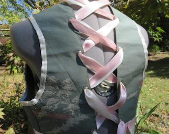 Cream and pink obi lace back bolero one size bellydance, steampunk, burningman, lolita, cosplay