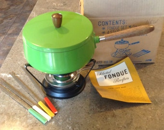 Vintage Lime Green Fondue Set Complete in Original Box