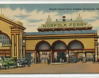 Norfolk Car Ferry Building Portsmouth Virginia 1947 postcard