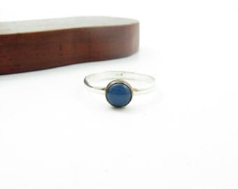 Mixed Metal Cornflower Blue Chalcedony Gemstone Copper and Sterling Silver Blue Stone Stacking Ring Size 8 Ring Simple Chalcedony Ring