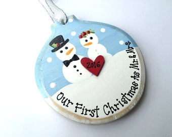 Handpainted and Personalized Newlywed Snow Couple Ornament