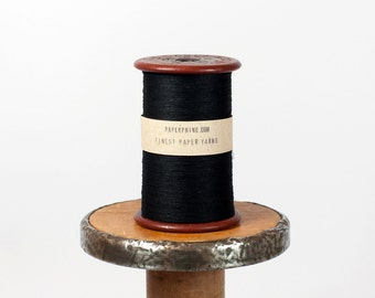 Finest Black Paper Yarn on a Small Vintage Bobbin (2200 yards) - DIY, Weave, Embroider, Art Projects