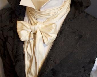 Extra Long Slim REGENCY Tie Ascot Cravat Cream Dupioni SILK