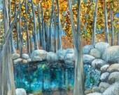 Original Painting of Trees, Boulders and Natural Pool, Blue Pool, Art